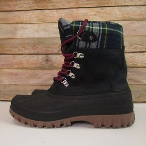 J. Crew Navy Boots with Plaid Interior 9M